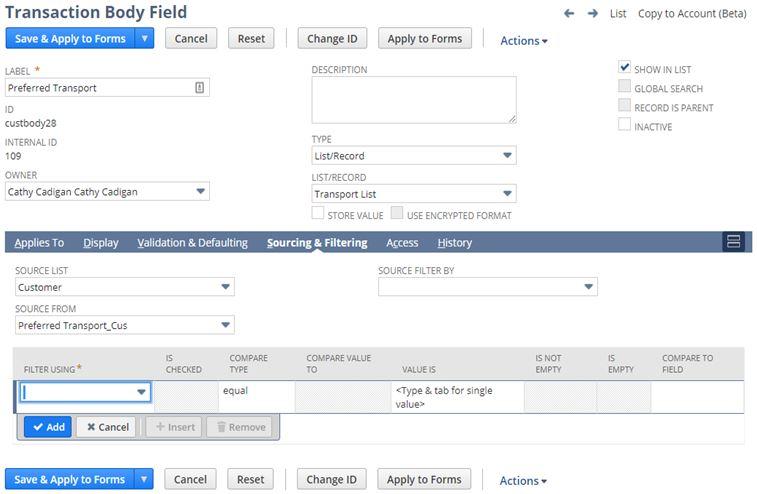 Create a List/Record fields