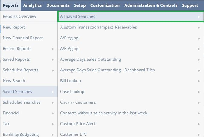 two tables of data into one table using the saved searches in NetSuite