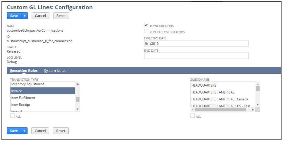 Custom GL Impact Configuration